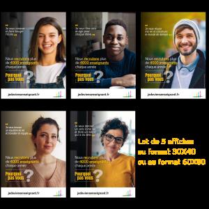 """5 Affiches campagne """"devenir enseignant"""" - version numérique"""